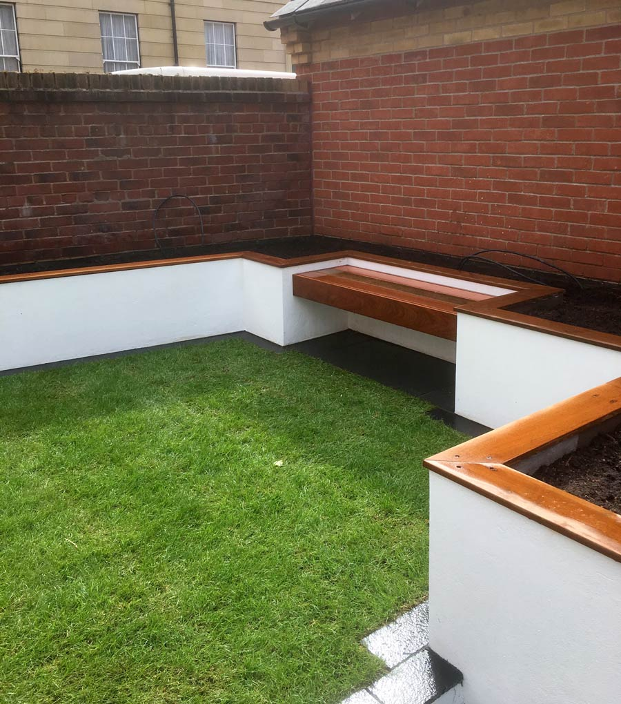 bespoke recessed ipe seat in new build garden redesign - Garden Accessories